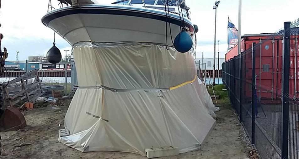 Osmosesanierung Motorboot Schutzzelt